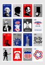 美国标志 集合象被构筑的邮票 免版税库存照片