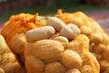 自然有机土豆散装在农夫市场上 库存图片