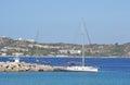 航行游艇在海 库存图片