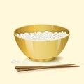 ? ?色碗用米和筷子 免版税库存照片