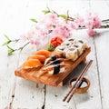 色集合射 寿司 免版税库存图片