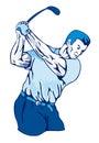 蓝色俱乐部高尔夫球运动员摇摆 免版税库存照片
