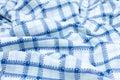 蓝色织品格子花呢披肩 免版税库存照片