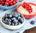 蓝莓,在碗的红浆果nad谷物 免版税库存图片