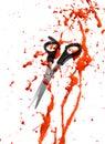 血液和 发切口剪刀 免版税库存照片