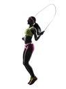 行使健身跳 剪影的妇女 库存照片