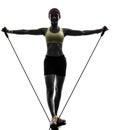 行使健身 炼抵抗带的妇女 库存照片
