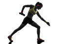 行使健身 炼重量训 剪影的妇女 免版税图库摄影