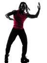 行使健身zumba跳舞剪影的非 人 库存图片