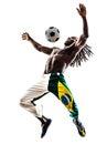 西 人足球运动员玩杂耍的橄榄球剪影 库存照片