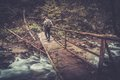 走在木桥的远足者在森林里 图库摄影