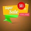 超级销售origami横幅 图库摄影