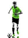 足球足球运动员  人剪影 库存照片