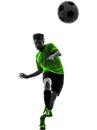 足球足球运动员  人剪影 免版税库存照片