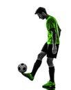 足球足球运动员  人玩杂耍的剪影 库存图片
