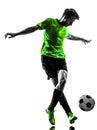 足球足球运动员  人 下的剪影 免版税图库摄影