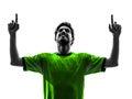 足球足球运动员  幸福喜悦人剪影 库存图片