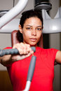 image photo : Beautiful girl working out at the gym