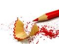 铅笔削尖了木的削片 库存图片