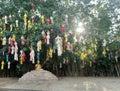 阳光通过垂悬在寺庙的树的五颜六色的纸灯 免版税库存照片