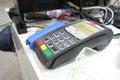 阿斯特拉罕,俄罗斯  月 日:信用欧 有限公司银行pos 端 在地方商店 信用欧 银行由fiba gro拥有 库存照片