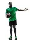 非 人足球运动员剪影 库存照片