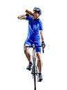 骑自行车者自行车道自行车饮用的剪影 免版税库存照片