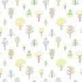 деревья doodle чертежа сти я  етей vector безшовная картина Стоковое Изображение RF