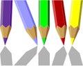 04 kolorów pióra set Zdjęcia Royalty Free