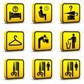 04 lotniskowych ikony ustawiający styl Fotografia Royalty Free