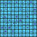 100 blue icons Royalty Free Stock Photography