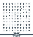 100 cupcake outline Icons Stock Images