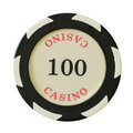 100 dollari di chip del casinò Fotografia Stock