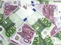 100 e 500 euro- banknotes-2 Fotografia de Stock