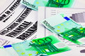 100 euro banknotes upon article about crisis Royalty Free Stock Photography