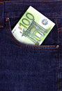 100 euro bill in jeans pocket Stock Photography