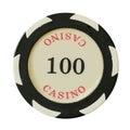 100 kasinochipdollar Arkivbild