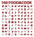 100 stickers set food and cook Stock Images