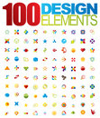100 Vector logo and design elements Royalty Free Stock Photo