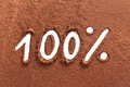 100% written with cocoa powder Royalty Free Stock Photo