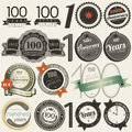 100 years anniversary signs and cards collection Royalty Free Stock Images