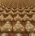 10000 Golden Buddha in Chinese temple Royalty Free Stock Photography