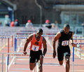 110 meter hurdles at the 2011 Penn Relays Stock Photo