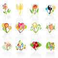 12 abstract flowers icons -vector icon set Royalty Free Stock Photo