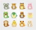 12 animal icon set,Chinese Zodiac animal Stock Images