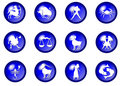 12 blue zodiac vector buttons Stock Photos