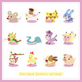 12 cartoon Chinese Zodiac animal stickers Stock Images