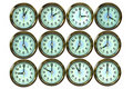 12 color gold time clocks , Stock Photos