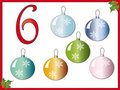 12 days of christmas: 6 Christmas balls Stock Photo