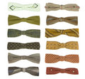 12 vintage bow-ties Royalty Free Stock Photo